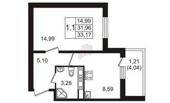 1 комн. кв. 31.96 м²