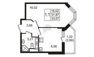 1 комн. кв. 31.87 м²