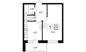 1 комн. кв. 34.42 м²