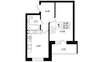 1 комн. кв. 34.54 м²