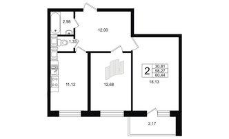 2 комн. кв. 58.27 м²