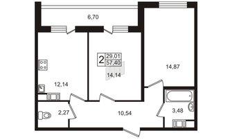 2 комн. кв. 57.4 м²