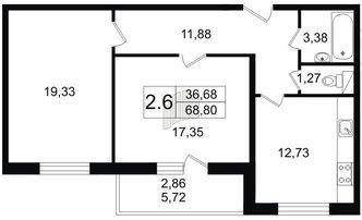 2 комн. кв. 68.66 м²