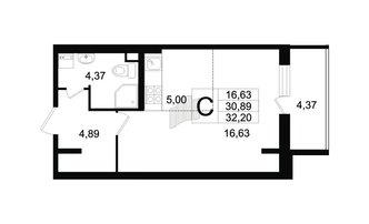 Студия 30.89 м²