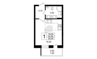 Студия 24.8 м²