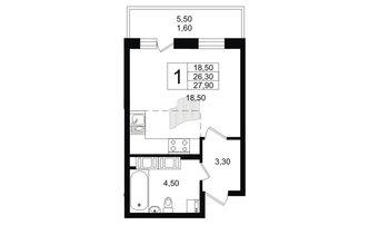 Студия 26.3 м²