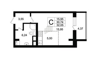 Студия 30.74 м²