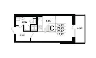 Студия 24.29 м²
