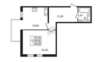 1 комн. кв. 49.8 м²