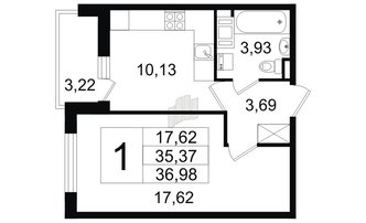 1 комн. кв. 35.37 м²