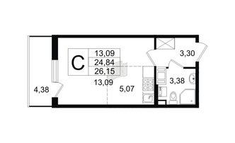 Студия 24.84 м²