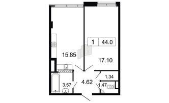 1 комн. кв. 44 м²