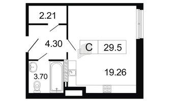 Студия 29.5 м²