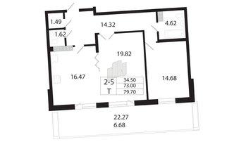 2 комн. кв. 72.4 м²