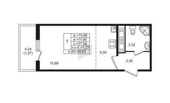 Студия 27.56 м²