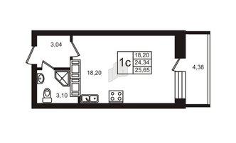 Студия 24.34 м²
