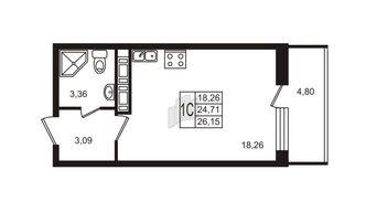 Студия 24.71 м²
