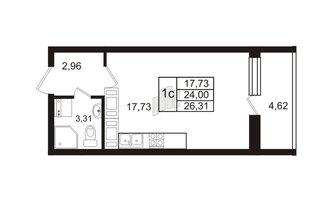 Студия 24 м²
