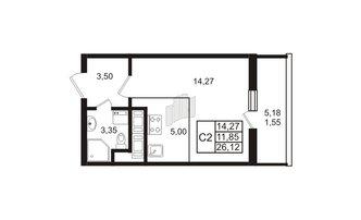 Студия 26.12 м²