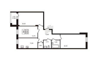 3 комн. кв. 88.7 м²