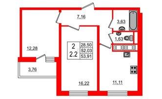 2 комн. кв. 51.7 м²