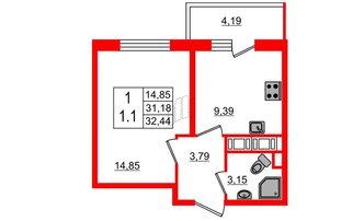 1 комн. кв. 31.18 м²