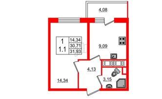 1 комн. кв. 30.71 м²