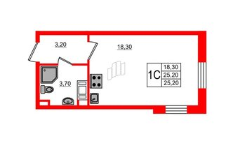 Студия 25.2 м²