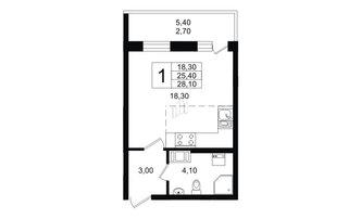 Студия 25.4 м²