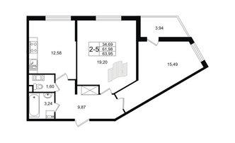 2 комн. кв. 61.98 м²