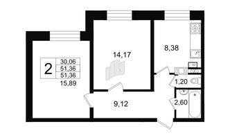 2 комн. кв. 51.36 м²