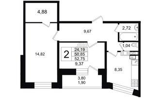 2 комн. кв. 50.85 м²