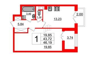 1 комн. кв. 43.72 м²