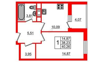 1 комн. кв. 40.27 м²
