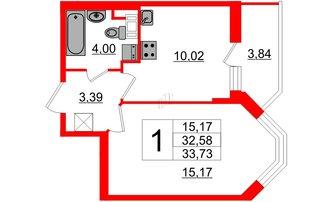 1 комн. кв. 32.58 м²