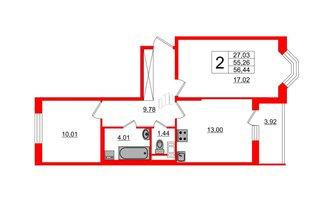 2 комн. кв. 55.26 м²
