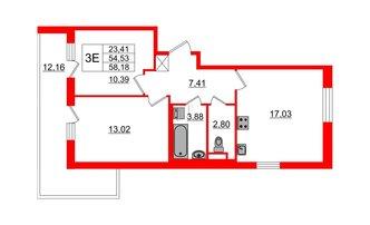 2 комн. кв. 54.53 м²