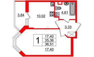1 комн. кв. 35.36 м²