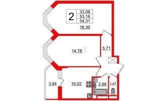 2 комн. кв. 53.16 м²