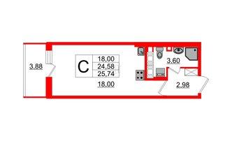 Студия 24.58 м²