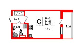 Студия 24.69 м²