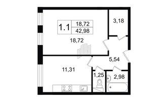 1 комн. кв. 42.98 м²